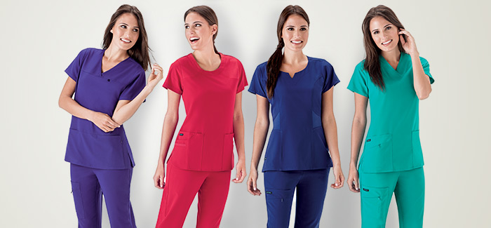 Woman wearing brightly colored Jockey® scrubs