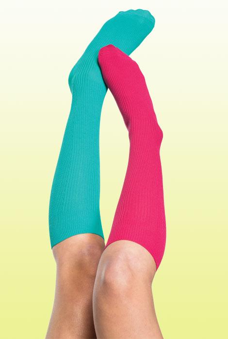 Woman wearing bright compression socks