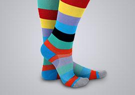 Woman wearing printed compression socks