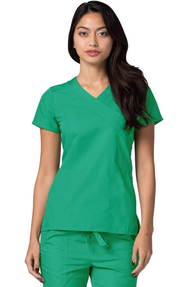 Universal Basics by Adar Women's Double Mock Wrap Solid Scrub Top