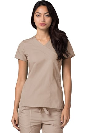 Clearance Universal Basics by Adar Women's Double Mock Wrap Solid Scrub Top