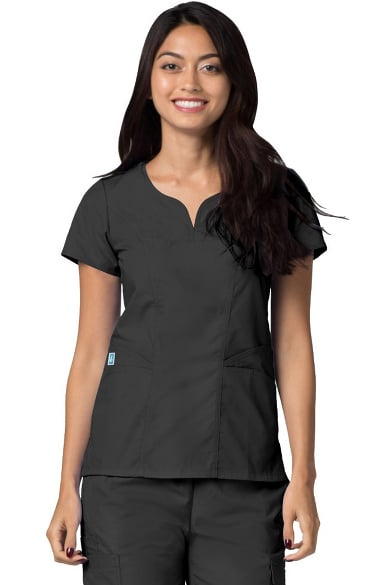 Universal Basics by Adar Women's Curved Neck Solid Scrub Top