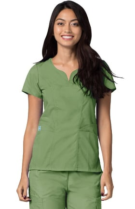 Clearance Universal Basics by Adar Women's Curved Neck Solid Scrub Top