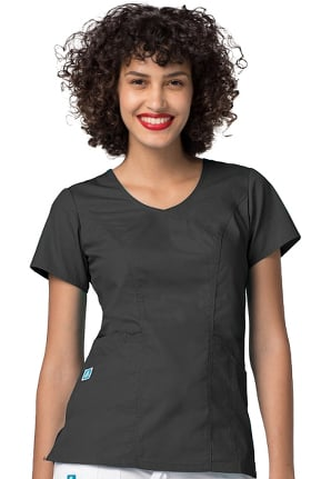 Universal Basics by Adar Women's Curved V-Neck Solid Scrub Top