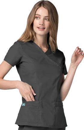 Universal Basics by Adar Women's Double Stitched Mock Wrap Solid Scrub Top