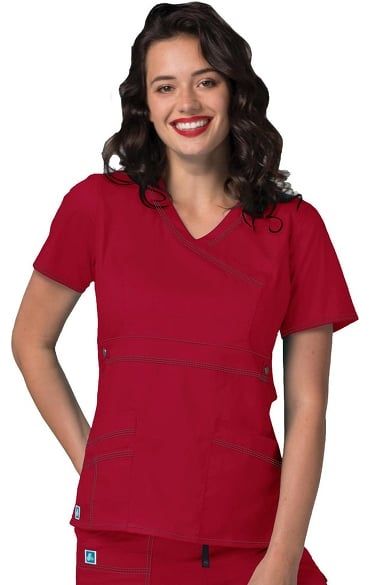 Pop Stretch Taskwear by Adar Women's Mock Wrap Solid Scrub Top