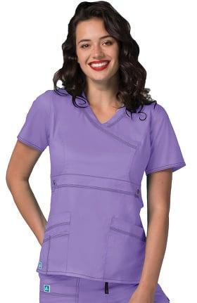Clearance Pop Stretch Taskwear by Adar Women's Crossover V-Neck Solid Scrub Top