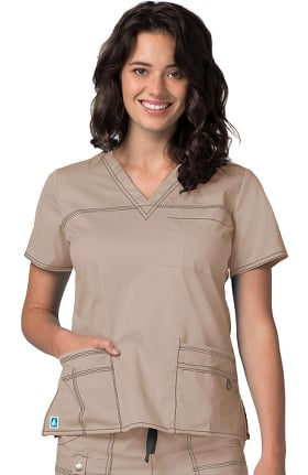 Pop Stretch Taskwear by Adar Women's V-Neck Solid Scrub Top