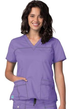 Clearance Pop Stretch Taskwear by Adar Women's V-Neck Solid Scrub Top