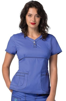 Pop Stretch Taskwear by Adar Women's Empire Henley Solid Scrub Top