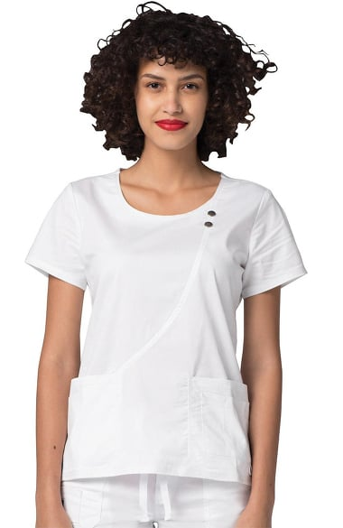Pop Stretch Taskwear by Adar Women's Curve Line Solid Scrub Top