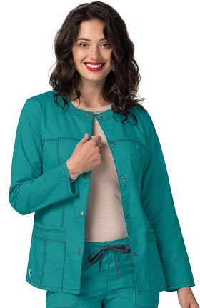 Pop Stretch Taskwear by Adar Women's Crew Neck Scrub Jacket