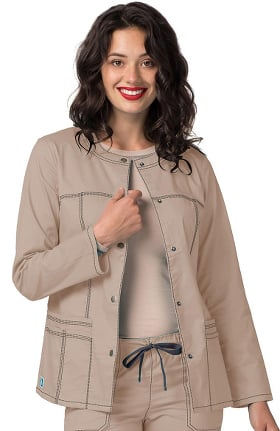 Clearance Pop Stretch Taskwear by Adar Women's Crew Neck Scrub Jacket