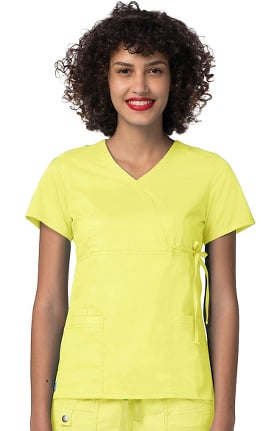 Pop Stretch Taskwear by Adar Women's Mock Wrap Scrub Top