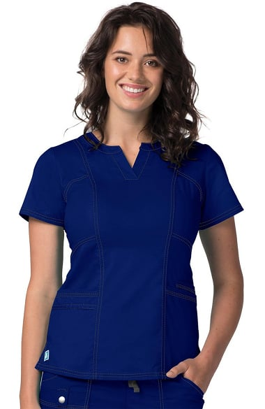 Pop Stretch Taskwear by Adar Women's Semi V-Neck Scrub Top