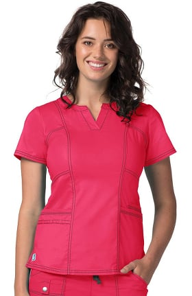 Clearance Pop Stretch Taskwear by Adar Women's Semi V-Neck Scrub Top