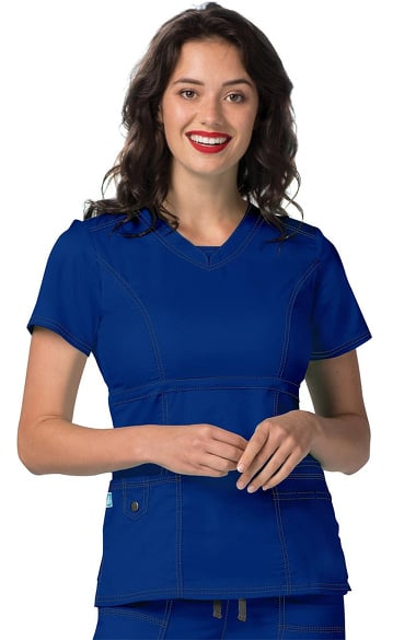 Pop Stretch Taskwear by Adar Women's V-Neck Princess Seam Scrub Top
