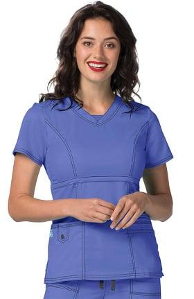 Clearance Pop Stretch Taskwear by Adar Women's V-Neck Princess Seam Scrub Top