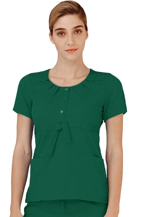 Clearance Indulgence by Adar Women's Scoop Neck Pleated Scrub Top
