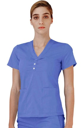 Indulgence by Adar Women's Scarf Neck Scrub Top