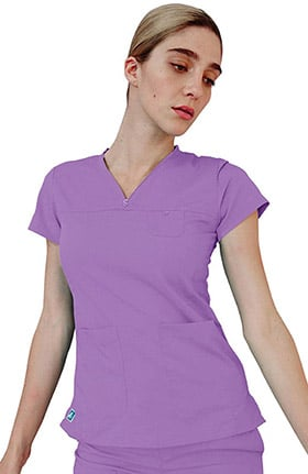 Clearance Indulgence by Adar Women's Curved V-Neck Scrub Top