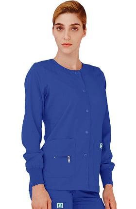 Clearance Indulgence by Adar Women's Multi Pocket Warm Up Solid Scrub Jacket