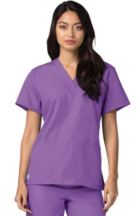 Universal Basics by Adar Unisex V Neck 3 Pocket Solid Scrub Top