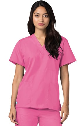 Universal Basics by Adar Women's V Neck 3 Pocket Solid Scrub Top