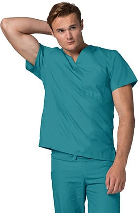 Clearance Universal Basics by Adar Unisex V-Neck 1 Pocket Tunic Solid Scrub Top