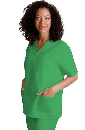 Clearance Universal Basics by Adar Unisex V Neck 3 Pocket Solid Scrub Top