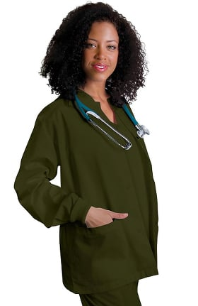 Clearance Universal Basics by Adar Women's Round Neck Warm-Up Solid Jacket