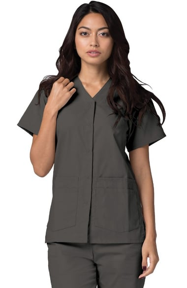 Universal Basics by Adar Women's Double Patch Pocket Snap Front Solid Scrub Top