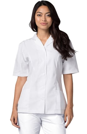 Universal Whiter Whites by Adar Women's Embroidered Collar Solid Scrub Top