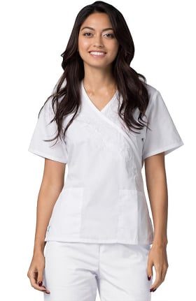 Universal Whiter Whites by Adar Women's Embroidered Mock Wrap Solid Scrub Top