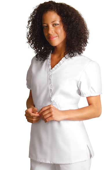 Universal Whiter Whites by Adar Women's Baby Doll Ruffle Solid Scrub Top