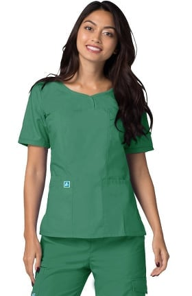 Clearance Universal Basics by Adar Women's Sweetheart V-Neck Solid Scrub Top