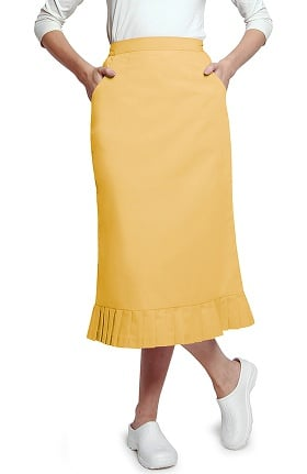 Clearance Universal Basics by Adar Women's Pleated Flounce Hem Scrub Skirt