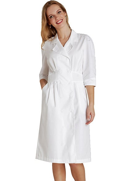 Clearance Universal Basics by Adar Women's Tuck Pleat Midriff Scrub Dress