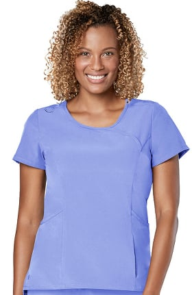 Addition by Adar Women's Round Neck Mock Wrap Solid Scrub Top