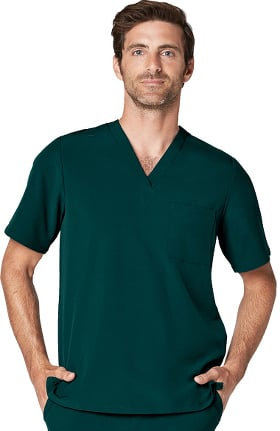 Addition by Adar Men's Classic V-Neck Solid Scrub Top