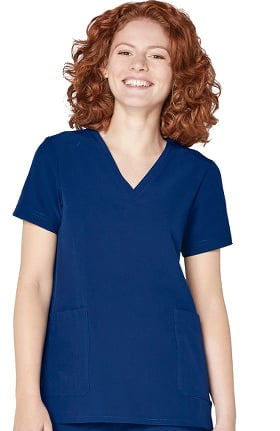 Addition by Adar Women's Modern V-Neck Solid Scrub Top
