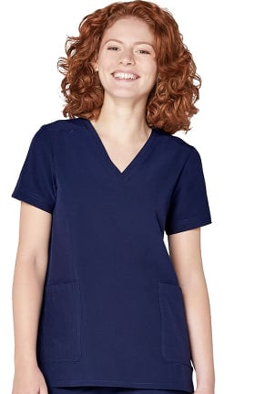 Clearance Addition by Adar Women's Modern V-Neck Solid Scrub Top
