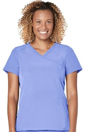 Addition by Adar Women's Mock Wrap Solid Scrub Top