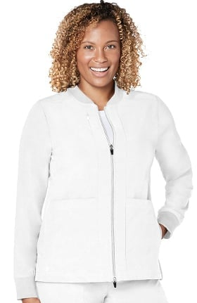 Addition by Adar Women's Zip Front Solid Bomber Scrub Jacket