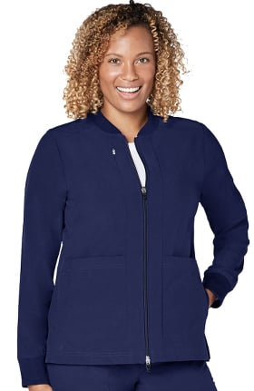 Clearance Addition by Adar Women's Zip Front Solid Bomber Scrub Jacket