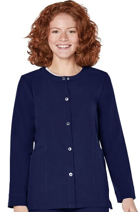 Addition by Adar Women's Snap Front Warm Up Solid Scrub Jacket