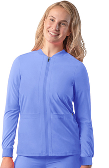 Addition by Adar Women's Bomber Zip-Up Solid Scrub Jacket