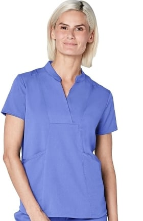 Pro by Adar Women's Collar V-Neck Solid Scrub Top