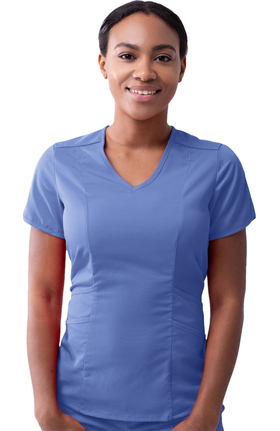 Pro by Adar Women's Tailored V-Neck Solid Scrub Top