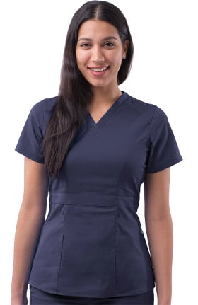 Pro by Adar Women's V-Neck Peplum Solid Scrub Top